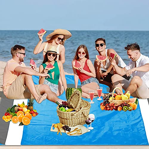 Motiloo Beach Blanket,7ft x 6.7ft Beach Blankets for 4-7 Adults Beach Mat,Oversized Lightweight Beach Mat, Portable Picnic Mat, Sand Proof Mat for Travel,Camping, Hiking and Music Festivals