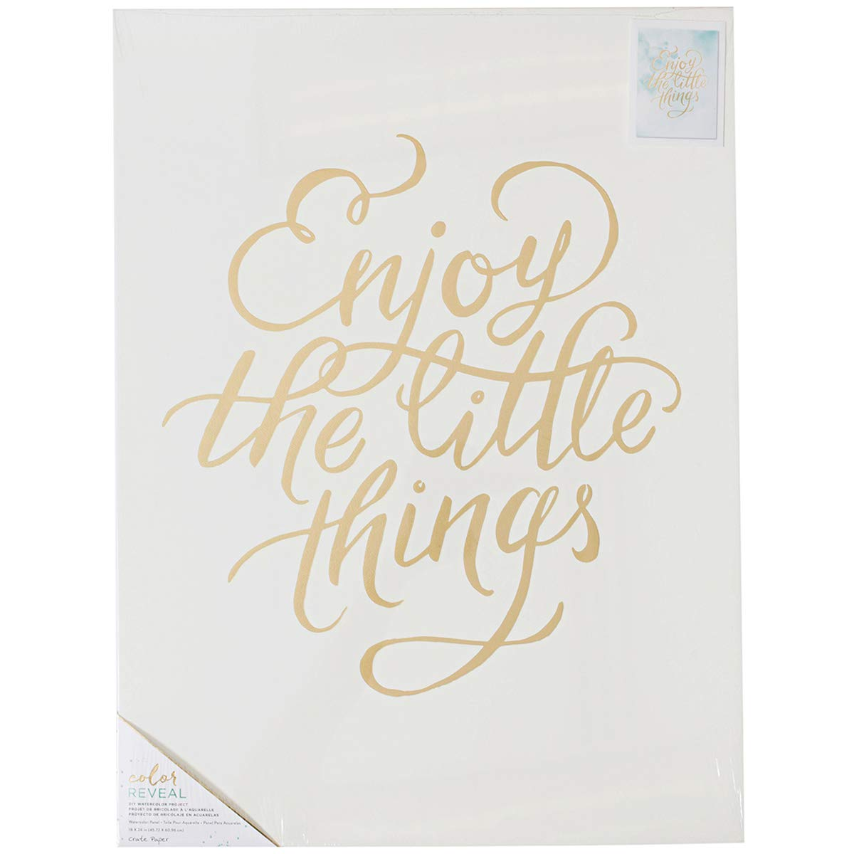 American CraftsCrate Paper Color Reveal Collection Watercolor Panel 18 x 24 Enjoy The Little Things (12 Pack)