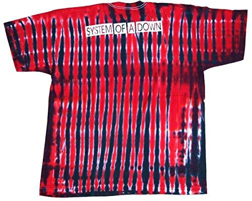 T-Shirt System Of A Down Nr. 2 Größe XXL Baumwolle Batik beidseitig Siebdruck Unikat