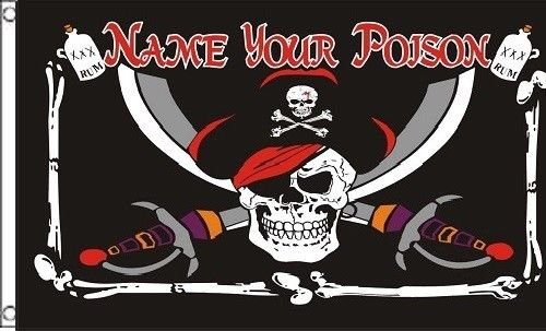 - ALBATROS 3 ft x 5 ft Pirate Name Your Posion Flag 5in x 3in Skull Skeleton Bones Halloween for Home and Parades, Official Party, All Weather Indoors Outdoors