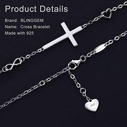 BlingGem Religious Cross Bracelet in Good Faith Bracelet 925 Sterling Silver Christian Infinity Classic Baptism Gift for Teen Girls Jewelry for Women by BlingGem (Image #2)