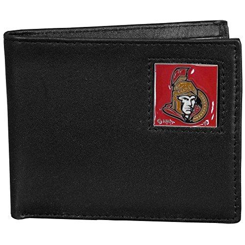 NHL Ottawa Senators Leather Bi-Fold Wallet Packaged in Gift Box, Black