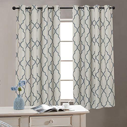 jinchan Moroccan Tile Print Textured Linen Panels for Bedroom Room Grommet Flax Linen Blend Curtain Textured Window Treatment Set for Living Room, 63