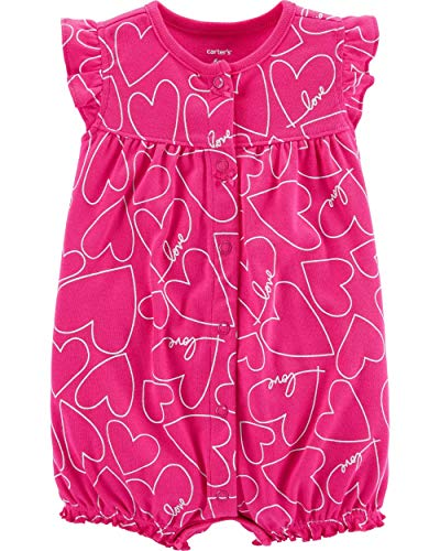 Carter's Baby Girls' Snap-Up Cotton Rompers (3 Months, Pink/Heart Print)