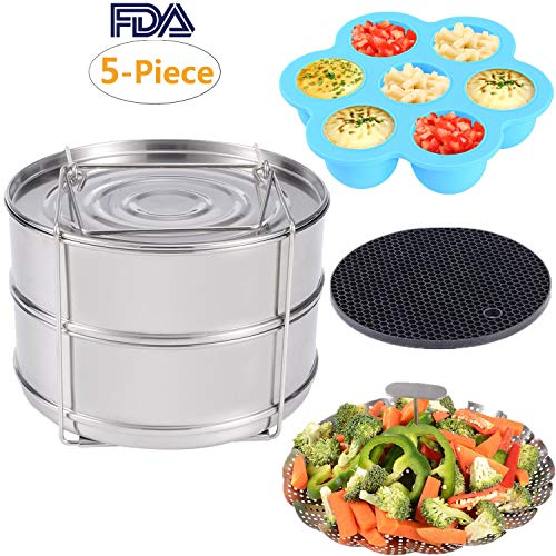KINDEN Instant Pot Accessories - Stackable Stainless Steel Food Steamer Insert Pans, Vegetable Steamer Basket, Silicone Egg Bites Molds, Silicone Pot Holder, 5 pcs/set for 5,6,8QT Pressure Cooker