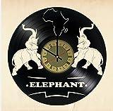 Elephant Vinyl Wall Clock Animals Unique Gifts Living Room Home Decor