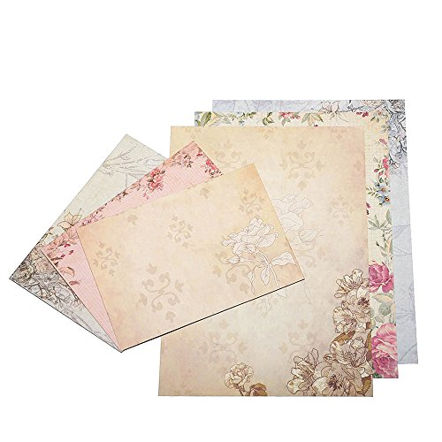 Dahey 30Pcs Vintage Stationery Floral Writting Paper Matching Envelopes Sets for Handwriting Letters, Assorted Colors -