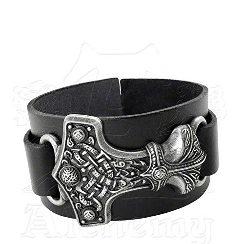 Thunderhammer Norse God Leather Bracelet by Alchemy Gothic