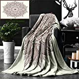 Unique Custom Double Sides Print Flannel Blankets Beige Decor Mandala Flower Ethnic Lace Circle Ornate Retro Pattern Wholeness India Super Soft Blanketry for Bed Couch, Throw Blanket 60 x 50 Inches