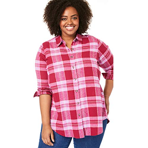 (Woman Within Women's Plus Size Classic Flannel Shirt - Red Multi Plaid,)
