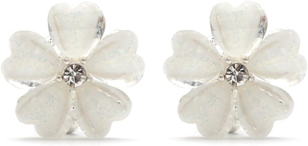 Idin Jewellery. Pendientes de clip en cristal con diseño de flor blancas