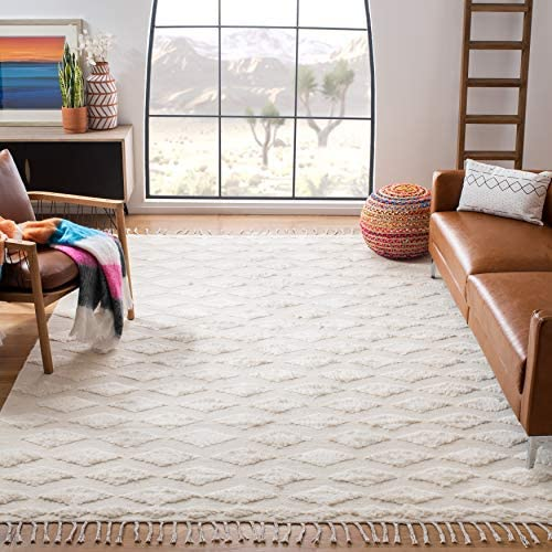 Safavieh Casablanca Shag Collection CSB551A Handmade Wool Moroccan Area Rug
