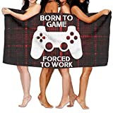 HONGYUDE Born to Game, Forced to Work 100% Polyester Velvet Absorbent Bath Towel 31 X 51 inches