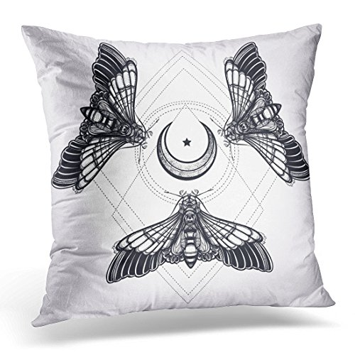 Breezat Throw Pillow Cover Butterflies Moth with Moons Sacred Geometry Circle Elegant Tattoo Vintage Dark Romance Love Occultism Decorative Pillow Case Home Decor Square 18x18 Inches Pillowcase