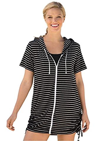 Women's Plus Size Knit Hoodie Cover-Up Black White Stripe,26/28 - White Terry Hooded Cover Up