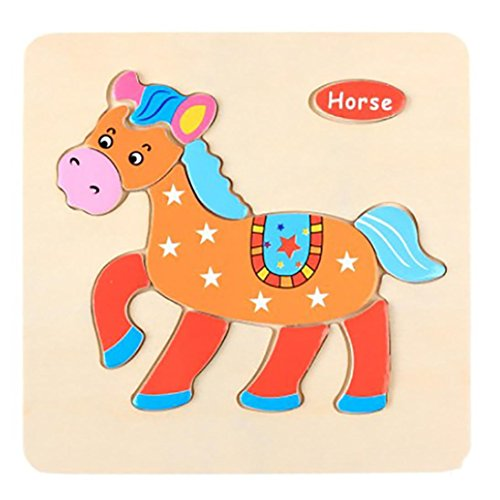Roysberry Toys - Wooden Educational Preschool Toys Horse 3D Puzzle Shape Color Recognition Geometric Board Block Alphabet Puzzles Toys - Birthday Gift Toy Jigsaw Puzzles