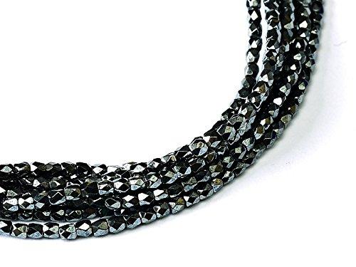 Round Firepolish Czech Glass Beads (150 pcs Czech Fire-Polished Faceted Glass Beads Round 2mm Jet Hematite)