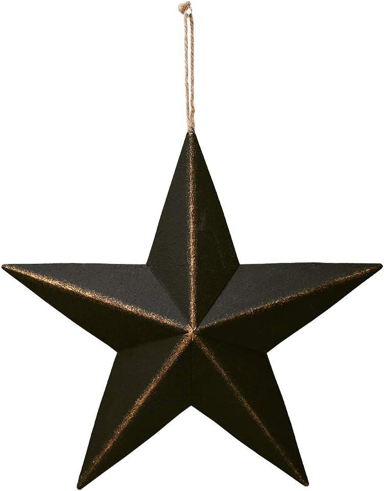 Attraction Design Patriotic Metal Barn Star Wall Star Decor, 12in Hanging Country Rustic Metal Star July of 4th Decor American Barn Star Texas Star (1, Black)
