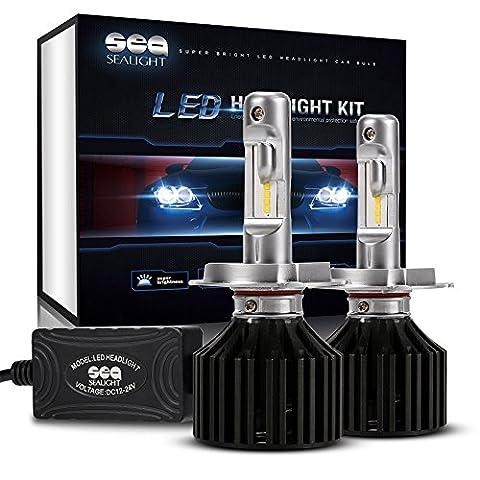 SEALIGHT X2 H4 LED Headlight Conversion Kit - 100W 12000LM- 32x CSP LED Chips - Cool White 6000K - Dual Hi/Lo Beam Bulbs - H4/HB2/9003 bulbs - 2 Yr (Headlight For A 2002 Honda Civic)