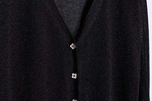 Lunga Bobo Colore Schwarz Giaccone Morbidi Giacca Outerwear Lily Autunno Comodo Stlie Sciolto Fashion Cappotto Puro Breasted Donna Elegante Maglieria Unique Casual Primaverile Leggero Manica Single wwUqS