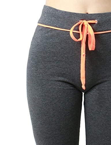 Womens Active Neon Color Tie High Waist Jogger Legging Style Tight SweatPants