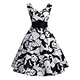 xxl dress form - Pervobs Dress Big Promotion! Women's Vintage Panda Printed Sleeveless Strappy Summer Casual A-Line Swing Camis Dress (XXL, Black)