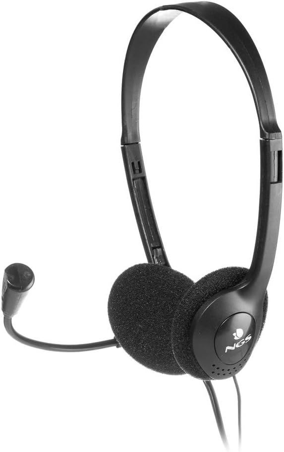 NGS MS 103- Auriculares estéreo con micrófono flexible para ordenador, conexión jack y control de volumen, color Negro