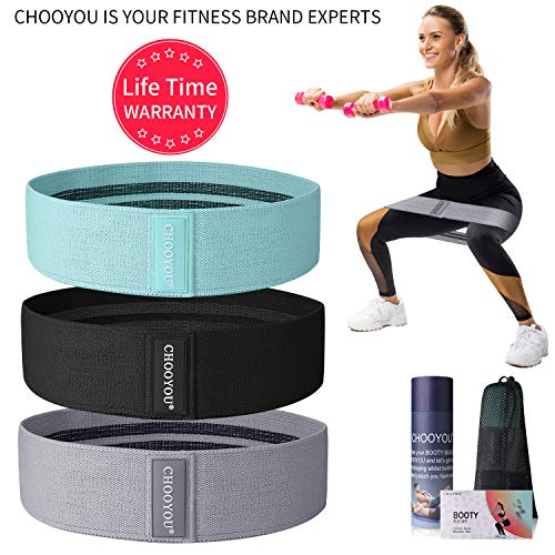Fabric Soft Non Slip Hip Fitness Bands for Booty Resistance Exercise Workout Bands for Women & Man ,Sets of 3,Perfect Resistance Loop Circle Exercise for Legs,Squats,Butt,Glutes (2019 Upgraded)