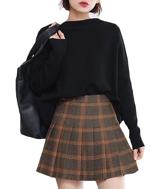 ZhuiKunA Mujeres Falda Escocesa Plisada Escuela Uniforme Falda ...
