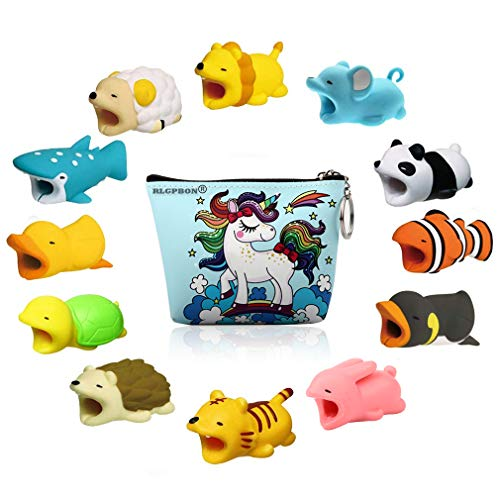 RLGPBON 12 Pack Cute Animals Cable Bites, Various Animal Cable Bites Cable Accessories for Phone Cable Cord (Type 1) ()