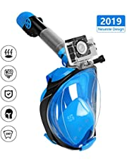 Karvipark Tauchmaske, 2019 Neueste Faltbare Schnorchelmask, Sicherer Unabhängiger Atemraum Vollgesichtsmake 180° Sichtfeld Anti-Fog Vollmaske für Erwachsene und Kinder