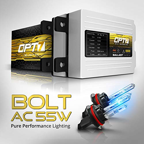 OPT7 Bolt AC 55w 9007 Hi-Lo HID Kit - 5X Brighter - 6X Longer Life - All Bulb Sizes and Colors - 2 Yr Warranty [10000K Deep Blue Xenon Light]