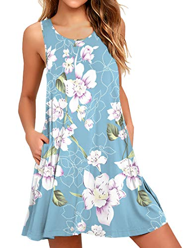 WEACZZY Floral Swimsuit Cover Up Beach Dresses for Women Floral Light Blue Medium
