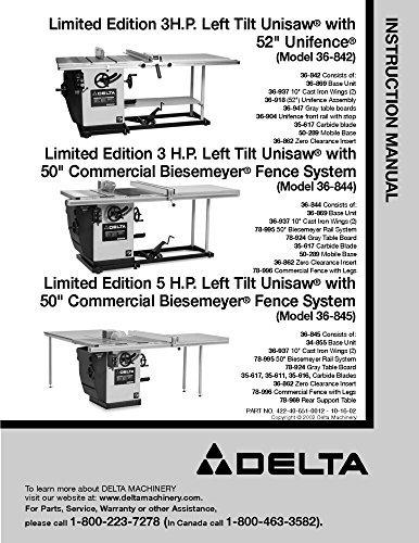 Delta 36-842 36-844 36-845 3HP 5HP Left Tilt Unisaw Instruction Manual Reprint