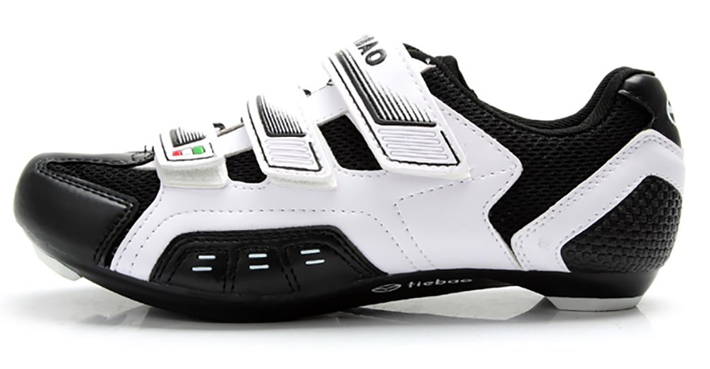 Tiebao Men Women Road Cycling Shoes Indoor Outdoor Riding Bike Shoes Bicycle Shoes (9, White)