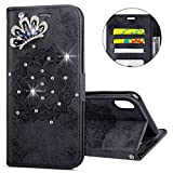 IKASEFU iPhone X Case,3D Clear Crown Rhinestone Diamond Bling Glitter Wallet with Card Holder Emboss Mandala Floral Pu Leather Magnetic Flip Case Protective Cover for iPhone X,Black