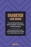 Diabetes libro: 2-Year Graba libro de registro para vigilancia Glucosa En La Sangre/General de salud diario & Pérdida De Peso Log (15,2x 22,9cm/Portable)