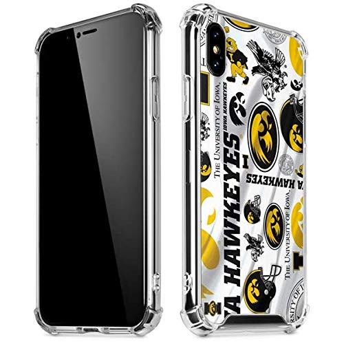 Skinit Iowa Hawkeyes Pattern iPhone Xs Max Clear Case - Officially Licensed University of Iowa Phone Case - Slim, Lightweight, Transparent iPhone Xs Max Cover (Iowa Hawkeyes Iphone 4 Case)