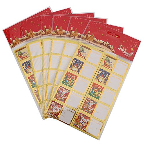 360 Count Holiday Gift Tag Stickers - Golden Metallic Border Festive Labels - Decorative Designs - Reindeer, Snowman, Tree, Santa Claus - Assorted Variety Adhesive Bulk Set Xmas Stickers