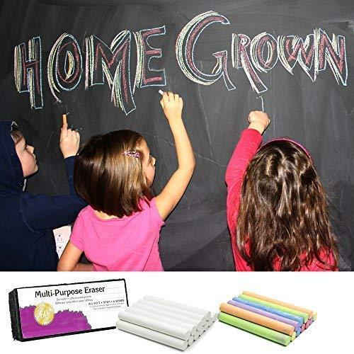 White Chalk (12 ct box) and Colored Chalk (12 ct box) Bundle Non-Toxic + Premium Chalkboard Eraser by True Decor (Image #1)