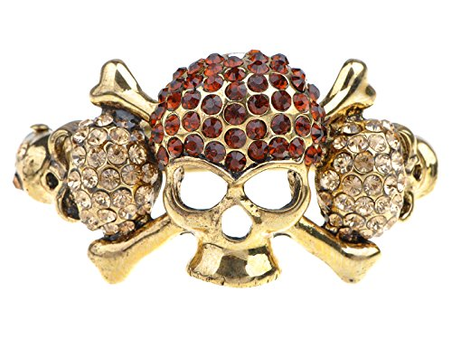 Alilang Womens Golden Tone Topaz Colored Rhinestones Pirate Skull Bones Bangle Bracelet