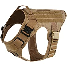 """ICEFANG Large Dog Tactical Harness,Military K9 Working Dog Molle Vest,No Pull Front Clip,Unbreakable Snap-proof Buckle (L (28""""-35"""" Girth), CB-Molle Half Body)"""