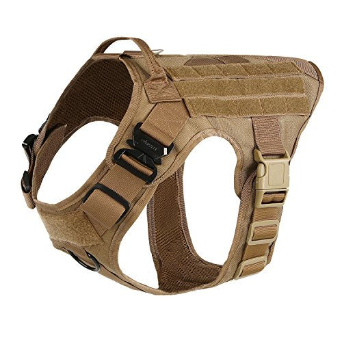 ICEFANG Large Dog Tactical Harness,Military K9 Working Dog Molle Vest,No Pull Front Clip,Unbreakable Snap-proof Buckle (L (28'-35' Girth), CB-Molle Half Body)