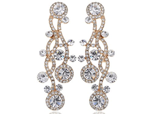 vski Crystal Element Gold Tone Clear Rhinestones Wavy Chandelier Dangle Drop Earrings (Swarovski Clear Crystal Chandelier Earrings)