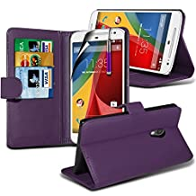 ( Purple ) Motorola Moto G (2014) G2 2nd Generation Case Custom Made BookStyle PU Leather Wallet Flip With Credit / Debit Card Slot Case Skin Cover With LCD Screen Protector Guard, Polishing Cloth & Mini Retractable Stylus Pen by ONX3®