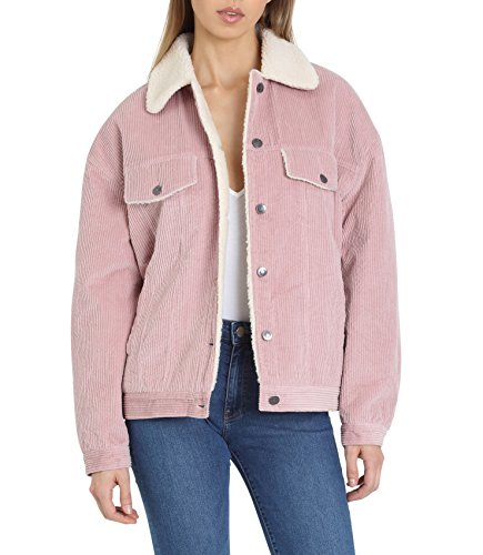 Faux Detachable Fur (Avec Les Filles Women's Corduroy Trucker Jacket with Detachable Faux Fur Collar, Pink, Extra Small)