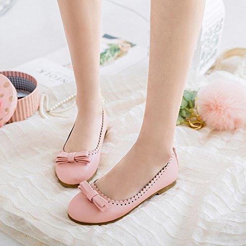 Charm Foot Mujeres Bows Sweet Comfort Zapatos De Punta Redonda, Zapatos Rosas