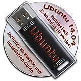 Ubuntu Linux 14.04 Bootable 8GB USB Flash Drive - Contains Both 32-bit and 64-bit.