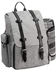 Picnic Backpack | Picnic Basket | Stylish All-in-One Portable Picnic Bag for 4 with Complete Wooden Cutlery Set, Stainless Steel S/P Shakers | Waterproof Fleece Picnic Blanket | Cooler Bag for Campin