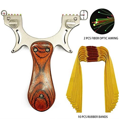 D&Q High Velocity Catapult Hunting Slingshot with 10 Pcs Rubber Bands Powerful Solid Accurate Shooting Fishing Fowling Competition Sling Shot with Aiming Points